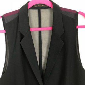 Zara Basic Sleeveless Blazer Mesh Back Vest